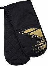 Premier Housewares Oven Glove, Cotton, Black/Gold,