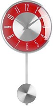Premier Housewares Pendulum Wall Clock, Red, 18 x