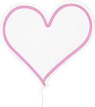 Premier Housewares Pink Heart Shaped Neon Sign