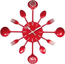 Premier Housewares Red Wall Clock Kitchen Themed