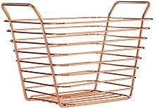 Premier Housewares Shine Wire Basket, Rose Gold,