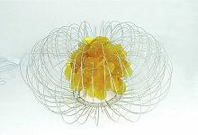 Premier Housewares Silver Wire Yellow Table / Desk