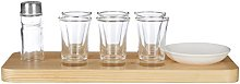 Premier Housewares Tequila Set, Wooden Tray, Six