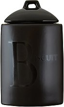 Premier Housewares Text Biscuit Jar Black Biscuit