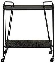 Premier Housewares Trento Cart Table - Grey/Glass