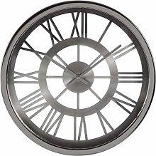 Premier Housewares Wall Clock, Glass, Metal, Black