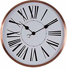 Premier Housewares Wall Clock, Glass, Metal, Rose