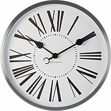Premier Housewares Wall Clock, Glass, Metal, Silver