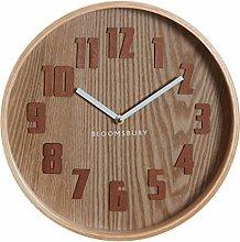 Premier Housewares Wall Clock, Glass, Wood, Brown