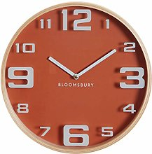 Premier Housewares Wall Clock, Glass, Wood, Orange