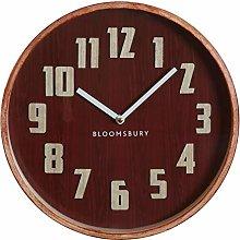 Premier Housewares Wall Clock, Glass, Wood, Red