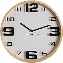Premier Housewares Wall Clock, Glass, Wood, White