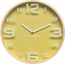 Premier Housewares Wall Clock, Glass, Wood, Yellow