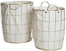 Premier Interiors Laundry Baskets Round Gold Wire