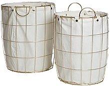 Premier Interiors Laundry Baskets Round Gold Wire
