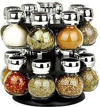 Premium 16 Glass Jar Rotating Revolving Spice Rack