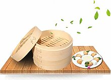 Premium Organic Bamboo Steamer Large 2-Tiers with