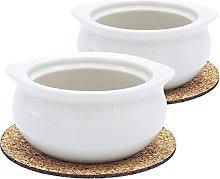 Premium Porcelain 12 Ounce Onion Soup Bowls -
