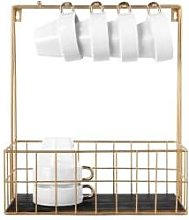 Present Time - Gold Wire Kitchen Rack With Hooks -