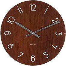 Present Time Small Glass Wood Clock - DARK WOOD