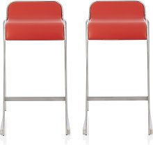 Pressley Bar Stool In Red Faux Leather In A Pair