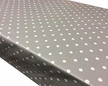 Prestige Tablecloths Mushroom Grey Polka Dot PVC