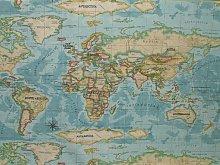 Prestigious 1 Metre Textiles Atlas World Map Azure