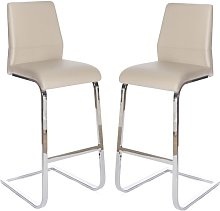 Presto Bar Stool In Taupe PU With Chrome Legs In A