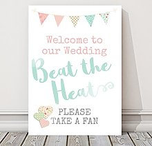 Pretty Bunting Beat the Heat Fan Table Sign For