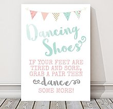 Pretty Bunting Wedding Dancing Shoes Table Sign (T)