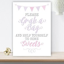 Pretty Lilac & Pink Bunting Grab A Bag Sweet Table