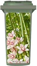 Pretty Pink Flowers In Bamboo Wheelie Bin Sticker