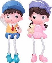 PRETYZOOM 2pcs Couple Figurines Decor Resin Table