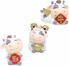 PRETYZOOM 3pcs Mini Lucky Cow Figure Figurine Cute