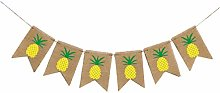 PRETYZOOM Hawaiian Banner Pineapple Jute Burlap