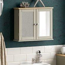 Priano 2 Door Mirrored Wall Cabinet, Grey