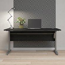 Prima Desk 150 cm in Black woodgrain with Height