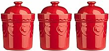 PRIME FURNISHING Set Of 3, Red Sweet Heart Design