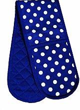 PRIME Homewares Blue Polka Double Oven Glove 100%