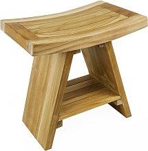 PrimeMatik - Bathroom stool with shelf 45 x 45 x 30 cm Certified Teak