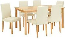 Primo 150 Cm Dining Table + 6 Faux Leather Chairs