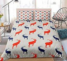 Prinbag Elk Duvet Cover Set Red Blue Deer Pattern