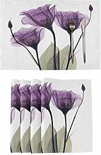 Print Elegant Tulip Purple Flower Placemats Tables