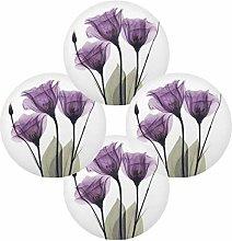 Print Elegant Tulip Purple Flower Round Placemats