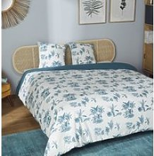 Printed cotton bedding set in ecru and teal