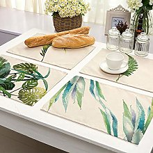 Printed Cotton Placemat,Cartoon Green Leaf Plants