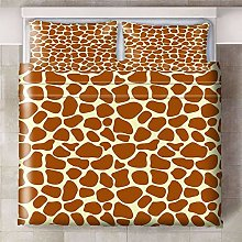 Printed Duvet Cover Set,Beige brown animal giraffe