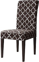 Printed Elastic Box Cushion Dining Chair Slipcover
