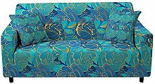 Printed Sofa Cover - Blue Rose With Golden Lines