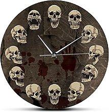 Printed Wall Clock Anatomical Skulls Wall Clock